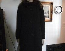 Women's 50's Vintage Wool Coat Winter ~ Fur Collar~ Mar-Del Dress Coat