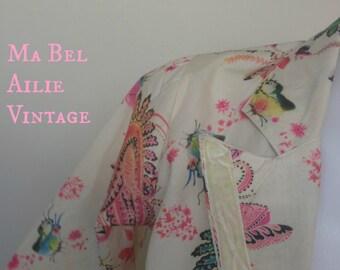 1960s floral print cotton jacket with velvet trim