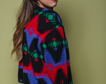 Vintage Geometric SOUTHWESTERN Cardigan / 80s 90s Biacci / Soft IKAT Sweater / Womens Size Medium Large