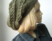 Hand Knit Hat, The Stacey Hat, Moss Green Lace Striped Slouchy Hat, Vegan Knits, Green Knitted Hat Fall Fashion