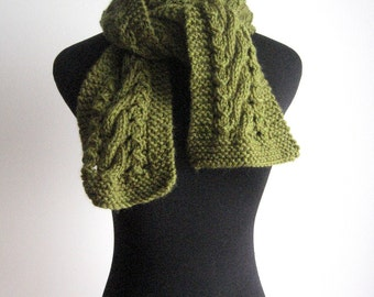 Hand Knit Scarf, Olive Green Cable and Lace Vegan Scarf, The Stef Scarf, Fall Scarf, Womens Accessories, Fall Fashion Scarf