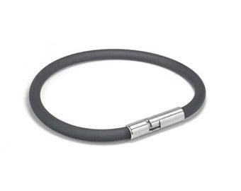 Gray Rubber Bracelet 5mm Rubber 6mm Clasp