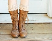 Knit Boot Cuffs, Boot Toppers, in Beige, Honeycomb Texture (B02)