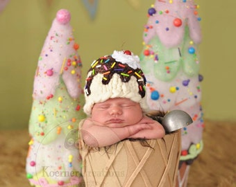 6-12 Months Size Ice Cream Sundae Hat (color options available)  photography prop