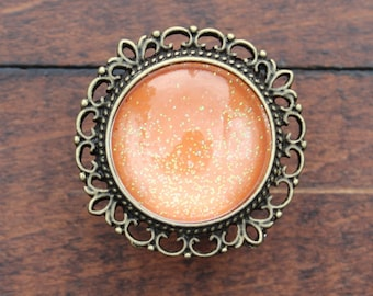 Glitter Drawer Knobs Orange with SILVER or BRASS Hardware (MK142 #3)
