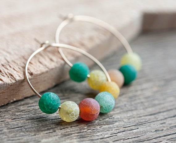 Simple Hoops Earrings 14K Gold Web Agate Milticolor - Colorful Yellow Green Earth Modern jewelry
