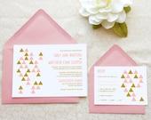 Triangle Pattern Modern Wedding Invitations - Geometric Wedding - Casual Wedding - Summer Wedding - Pink and Gold