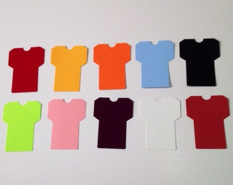 Football jersey( 3 x 4 inch)  die cut punches, tee shirt shapes, 12 Medium Jerseys