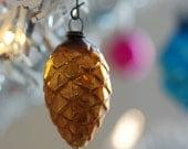 Christmas Photograph, Vintage Gold Pinecone Ornament Photo, Digital Download, Printable Art, Do It Yourself Art, Seasonal Photography