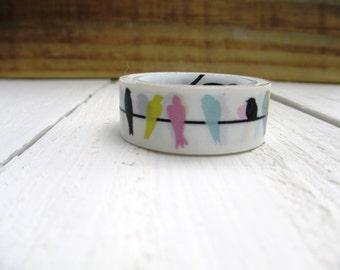 Multicolor Bird on a Wire Washi Tape Mini Roll