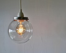 CRYSTAL BALL Pendant Lamp - Hanging Light With A Clear Round Orb Glass Globe Shade - Simple Minimalist Industrial BootsNGus Lighting Fixture