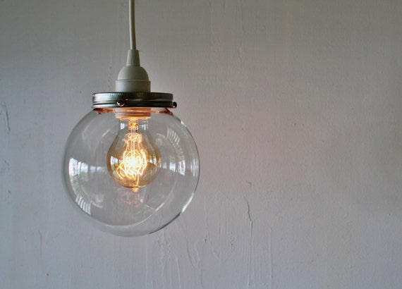 CRYSTAL BALL - Hanging Pendant Lamp With A Clear Round Orb Glass Globe Shade - Simple Minimalist Industrial BootsNGus Lighting Fixture