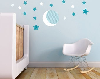 Moon and Stars Kids Wall Decal in Teal and White. Moon and Stars Wall Decal