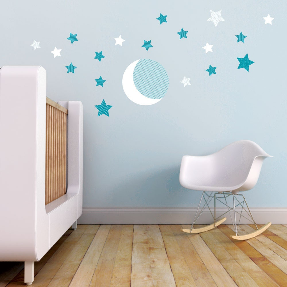 moon and stars kids wall decal in teal and white moon and. Black Bedroom Furniture Sets. Home Design Ideas