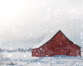 Winter Photography, Red Barn in Snow, Fine Art Photograph, Country Holiday Home Decor, Large Wall Art