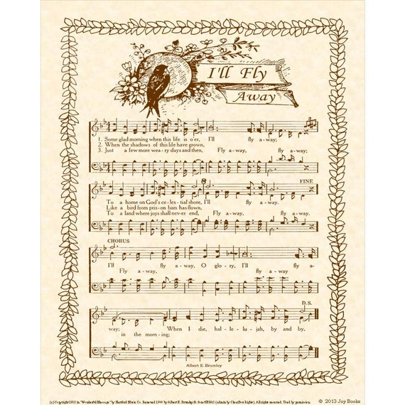I Ll Fly Away 8x10 Antique Hymn Art Print By Vintageverses