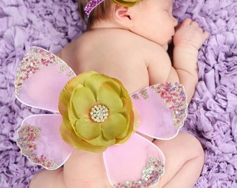 LAVENDER PEAR Green Gold and lilac Sequin Vintage Butterfly Wings & Headband SET Beautiful Photo Prop First  Photos