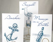 Nautical Wedding Table Cards - Beach, Seashell and Ocean Theme for Destination and Seaside Events