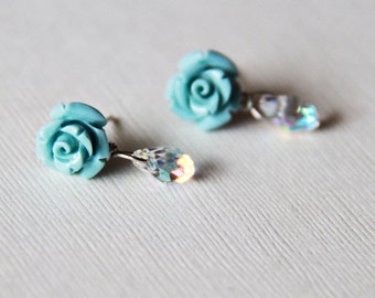 Blue Coral Rose.Swarovski Elements Crystal Teardrop Briolette 925 Silver Ear Studs Post. Weddings. Spring. Floral. Something Blue