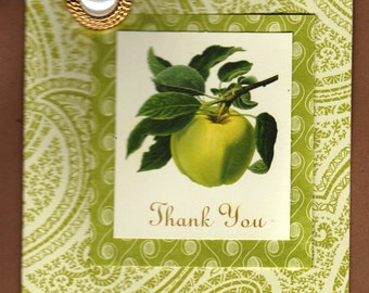 Handmade Thank You Card - Lovely Apple with Large Pearl Embellishment - FREE Shipping