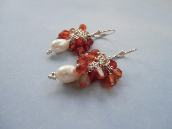 SALE: Pearl / agate earrings - Sterling silver
