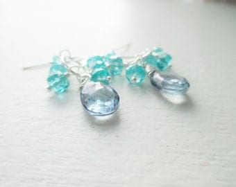 Gemstone Cluster Earrings - Mystic Blue Quartz and Apatite - Sterling Silver Dangles