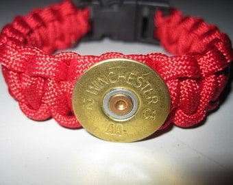Red Paracord Survival Bracelet Winchester Shotgun Shell 12 GA AA