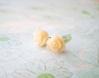 Sweet petite peach resin rose lead and nickel free silver tone ear studs, ear posts, wedding, bridal gift, teenage daughters