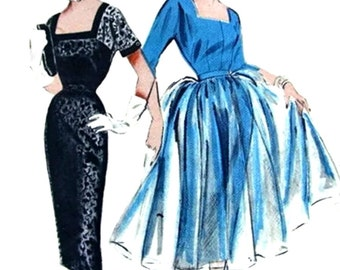 UNCUT Vintage 1950's Pattern 6714 -  GORGEOUS High Fashion Dress & Overdress, Strapless or not - FF - Size 12