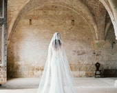 Ivory Wedding Veil Mantilla Style, Floral Lace Mantilla Bridal Veil Cathedral Length - Style 301