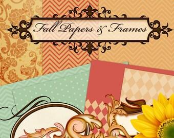 Fall Clipart, Autumn Clipart, Digital Scrapbook Papers, Clipart Frames, Fall Clipart Frames