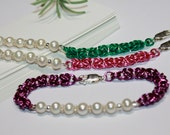 Chainmaille Bracelet-Byzantine-Chainmail-Aluminum Ring Chainmaille-White Fresh Water Pearls-Purple-Green-Pink-Mother's Day-Jump Ring