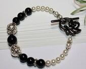 Graduated Pearl Bracelet -Black and White Swarovski-Gun Metal Toggle Clasp-Pearls and Bali Silver-Wrist Size 8 Inches-Wedding-Bridal-June
