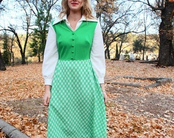 GREEN GRASS- Bright Green and White Gingham Plaid Two Tone School Girl Handmade Retro Collared Prep 70s Maxi Dress Gown Medium