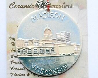 MADISON view from Lake Monona handmade ceramic ornament capitol WI alum UW great graduation & student gift idea under 25 Faith Ann Originals
