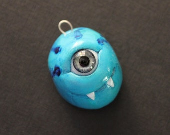 creepy cute alien monster cyclops pendant - handmade ooak