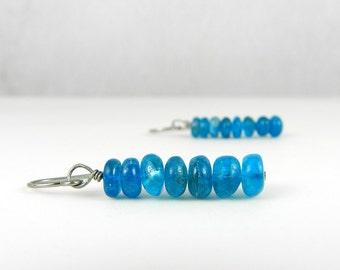 Blue Drop Earrings, Malibu Blue Apatite Earrings, Modern Earring Stacks, Long Drops