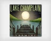 FREE Customization -- Moonrise  LAKE CHAMPLAIN Gallery Wrapped Stretched Canvas Wall Art 16x16x1.5 ready-to-hang