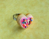 polymer clay pink sugar cookie ring