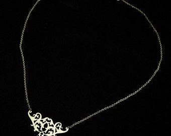 Sterling Silver Lace Necklace - Ornate Floral Flourish Small Dainty Pendant - RENAISSANCE SOIREE