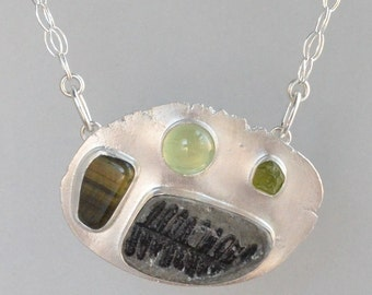 SALE 30% OFF large sterling silver necklace with fern fossil, prehnite, rough peridot and tigereye