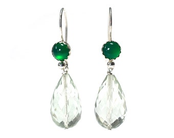 Chrysoprase and Prasiolite Sterling Silver Drop Earrings