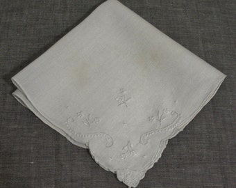 Vintage Wedding White with White Embroidered Hanky