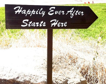 happily ever after, directional sign, wedding arrow, custom wedding sign, wood wedding sign, reception decor, black and white wedding