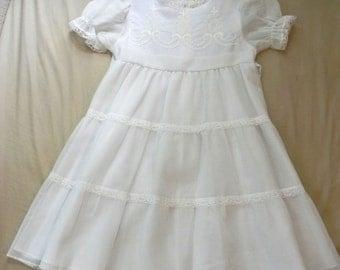 Vintage Girls White 50s Dress - on sale