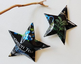 Xing Green Tea Blueberry, Stars, Christmas  Ornaments, Soda Can, Upcycled Aluminum, Black Blue Green