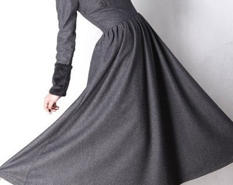 Gray wool dress winter maxi dress ( MM62)