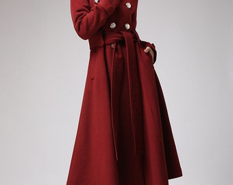 Red coat, cashmere coat,  winter coats, hooded coat, Military coat,double breasted coat ,trench coat,wool coat,long coat,ladies clothing 705