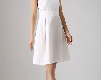 White dress woman mini dress custom made linen dress (880)
