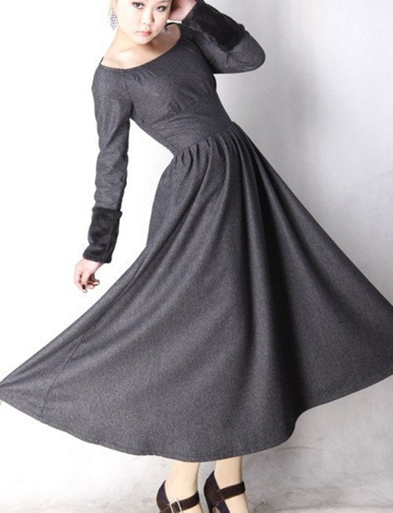 Gray wool dress winter maxi dress MM62